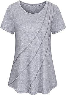 MOQIVGI Womens Short Sleeve Crew Neck Workout Tops Activewear Yoga Gym Sports Shirts