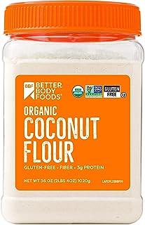 BetterBody Foods Organic Coconut Flour 2.25 Pound Jar, Naturally Gluten-Free White Flour Alternative with a Slight Coconut...