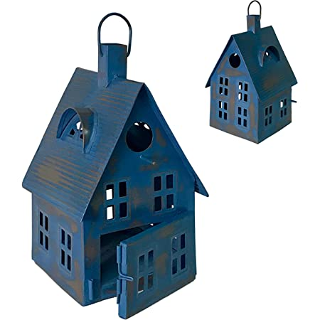Metal Bird House Decor | Decorative Bird Houses for Indoor or Outdoor Hanging | Farmhouse Country Decor BirdHouses (Blue Cottage)