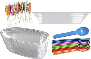 Clear Plastic Banana Split Boats 12 oz. - Paper Umbrellas - Eco Friendly Plastic Spoons- 16 Each