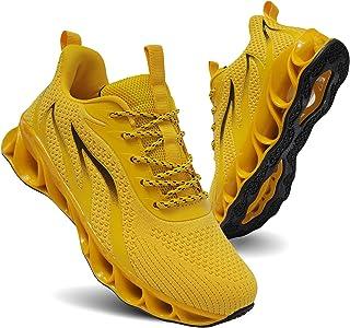 TIAMOU أحذية الجري النساء المشي أحذية عادية شبكة مريحة أحذية رياضية خفيفة الوزن أزياء رياضة رياضة رياضة أحذية صفراء