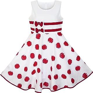 Girls Dress Wine Red Polka Dot Circle Print Double Bow Tie, Vestido para Niños