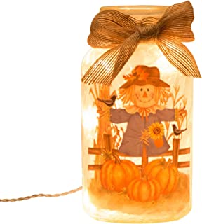Glitzhome Lighted Frosted Glass Mason Jar, Scarecrow
