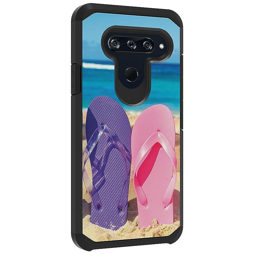 TurtleArmor   Compatible with LG V40 Case   LG V40 ThinQ Case   Hard Shell Impact TPU Case Hybrid Ocean Beach Design - Sandal Flipflops