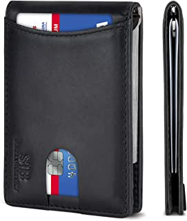 SERMAN BRANDS RFID Blocking Slim Bifold Genuine Leather Minimalist Front Pocket Wallets for Men with Money Clip Thin Mens ...