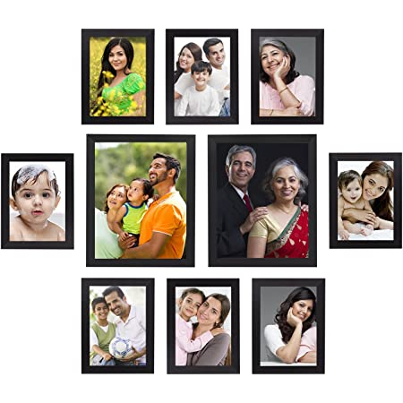 Amazon Brand - Solimo Collage Photo Frames, Set of 10,Wall Hanging (8 pcs - 5x7 inch, 2 pcs - 8x10 inch),Black