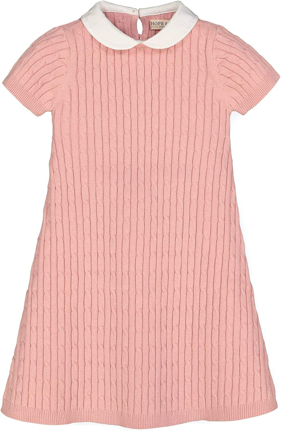 Hope /& Henry Girls Cable Knit Peter Pan Collar Sweater Dress
