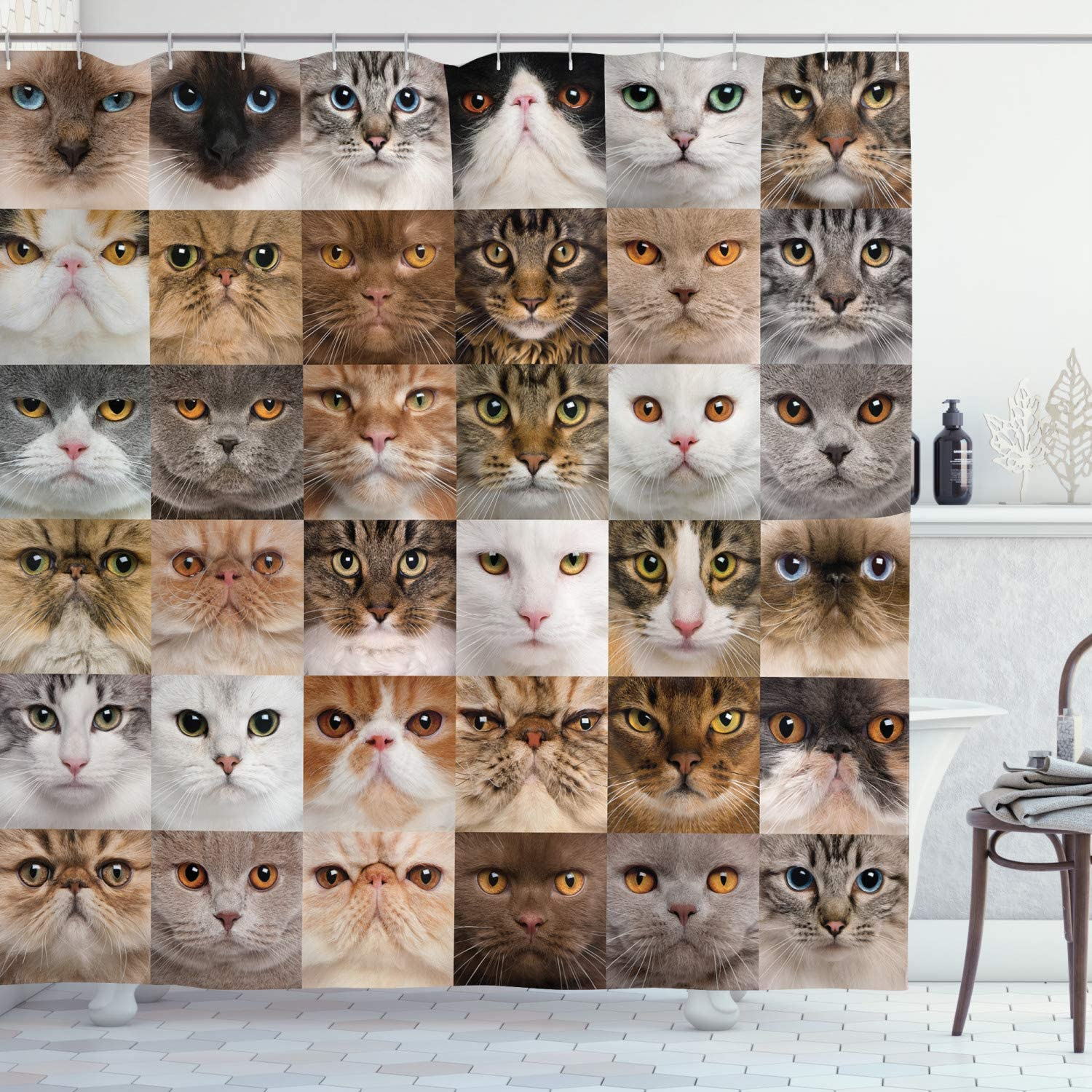 Ambesonne Cat Lover Shower Curtain Collage of Heads Breed B Attention brand Japan's largest assortment