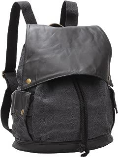 Canvas Leather Casual Daypack Backpack Women Travel Rucksack Dark Grey 11.8in #BK-001