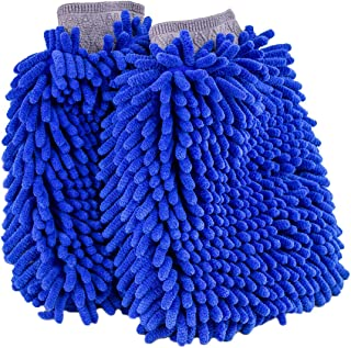 Ultimate Car Wash Mitt - 2 Pack - Premium Chenille Microfiber Wash Mitt - Wash Glove - Lint Free - Scratch Free - Regular Size