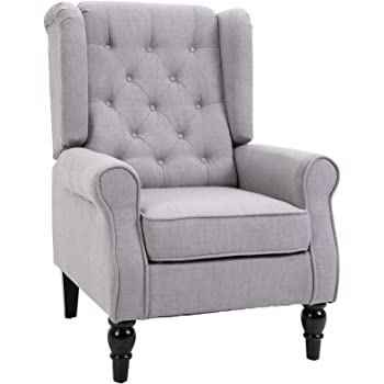 HOMCOM Fabric Tufted Club Accent Chair with Wooden Legs, Grey
