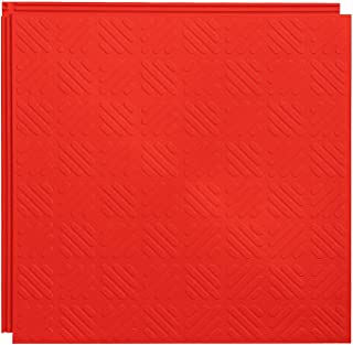 Resilia Flexible Interlocking Snap Floor Tiles – Protective Flooring for Your Garage, Home, Office or Gym, Red Color, Grid...