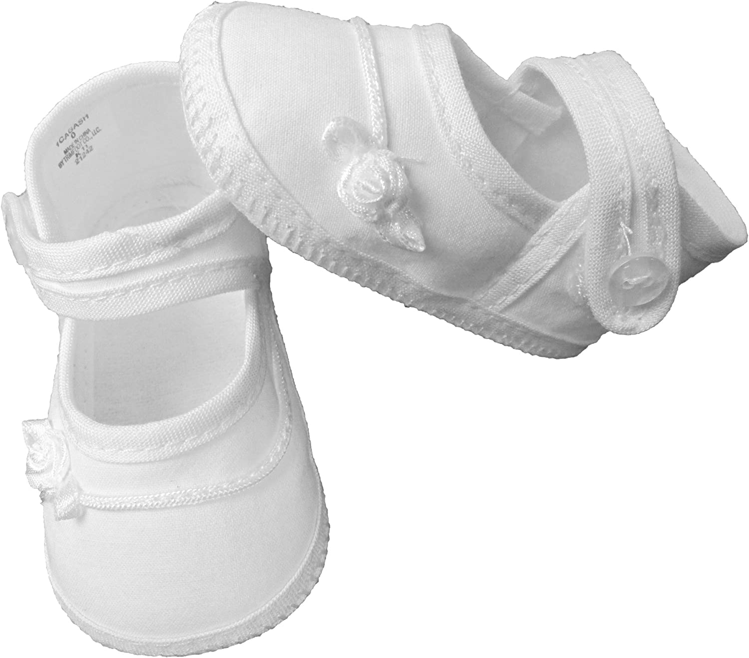 Little Things Mean A Lot Girls Cotton Batiste Shoe Embroidered with Tiny Braid and Rosebud