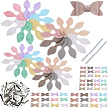 AOUXSEEM 192 Pieces 48 Set of Faux Leather Bows DIY Making Kit with Pre-Cutted Chunky Glitter and Metallic Litchi Vinyl Fa...