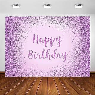Avezano Lila Hintergrund für Frauen Geburtstag Party Fotoshooting Hintergrund Mädchen Happy Birthday Banner Dekoration Süß Lila Glitzer Punkte Punkt Sparkle Bday Fotografie Hintergründe (2,1 x 1,5 m)