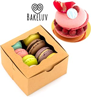 BakeLuv Brown Bakery Boxes with Window 4x4x2.5 inches | 25 Pack | Thick & Sturdy | Bakery Boxes, Mini Cake Boxes, Cookie Boxes with Window, Dessert, Pastry, Treat Boxes with Window