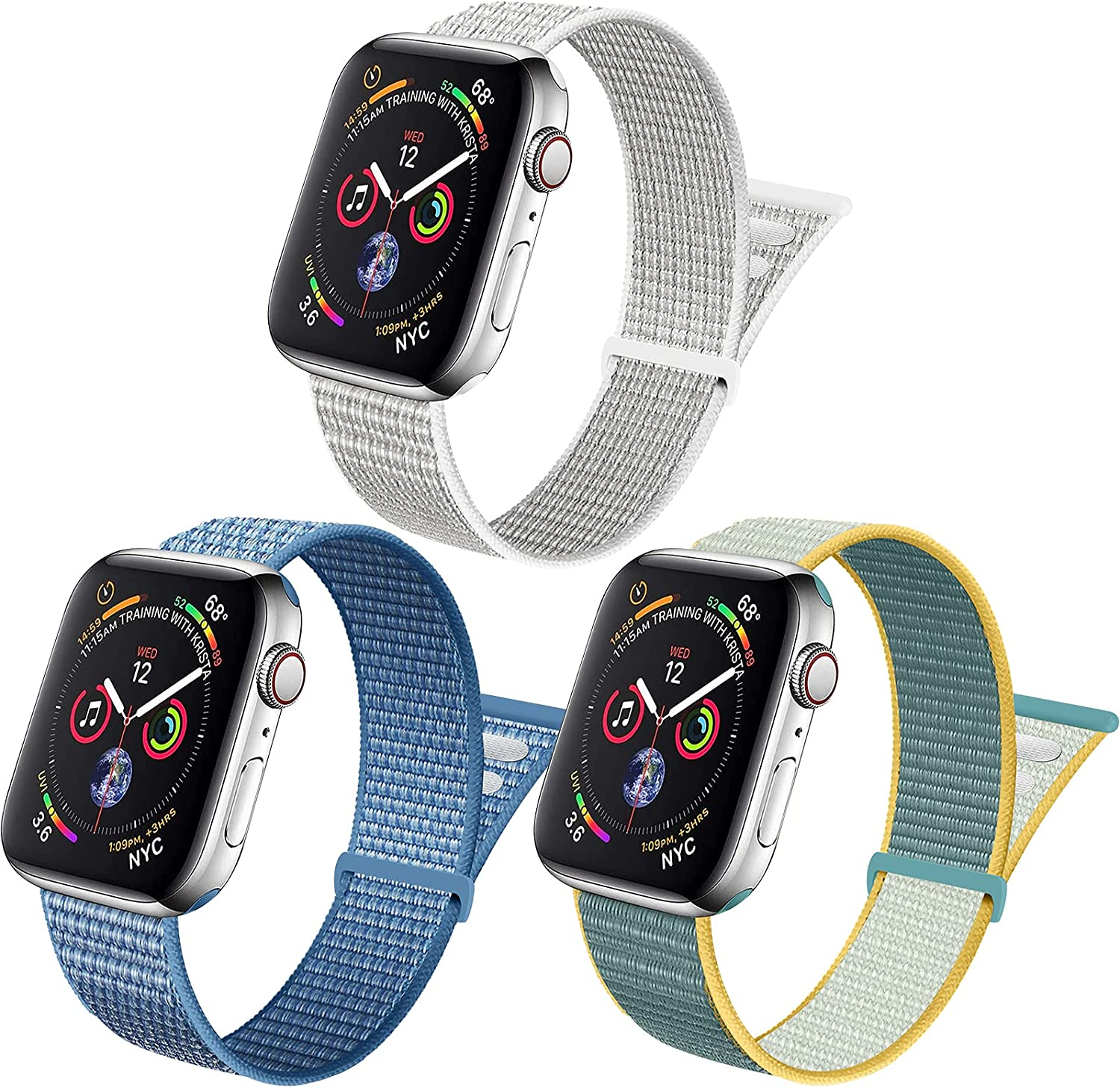 ZUQUEE 3Pack Nylon Loop Compatible with Apple Watch,Stretchy Soft Adjustable Elastic Women Men Sports Straps for Iwatch Series 7/6/5/4/3/2/1/SE,Summit White/Cape Cod Blue/Sunshine,42/44/45mm