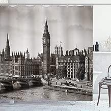 Ambesonne London Shower Curtain, Westminster with Big Ben and Bridge Nostalgic Image British Antique Architecture, Cloth Fabric Bathroom Decor Set with Hooks, 70