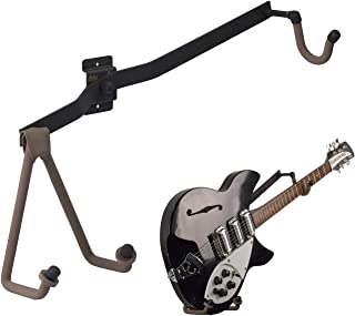 String Swing Guitar Holder Horizontal Low-Profile Narrow-Body for Flat Wall Mount Bass and Electric Guitars- 1 Piece Unit ...