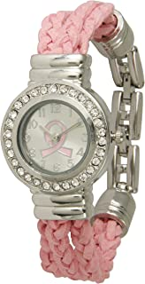 Breast Cancer Leather Bracelet Watch with Silver Tone and Crystal Stone Around