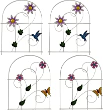 Gift Boutique Decorative Painted Metal Garden Fence 4 Pack Flower Design Border Edge Gate for Yard Patio Lawn Landscape an...