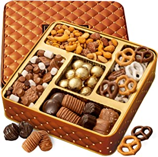 BONNIE AND POP – Nuts and Chocolate Gift Box – Holiday Gift Basket – Christmas Food Gifts - Holiday Assortment Tray - Corporate Food Gifts, Sympathy, Birthday or Get Well - Gifts for Men & Women