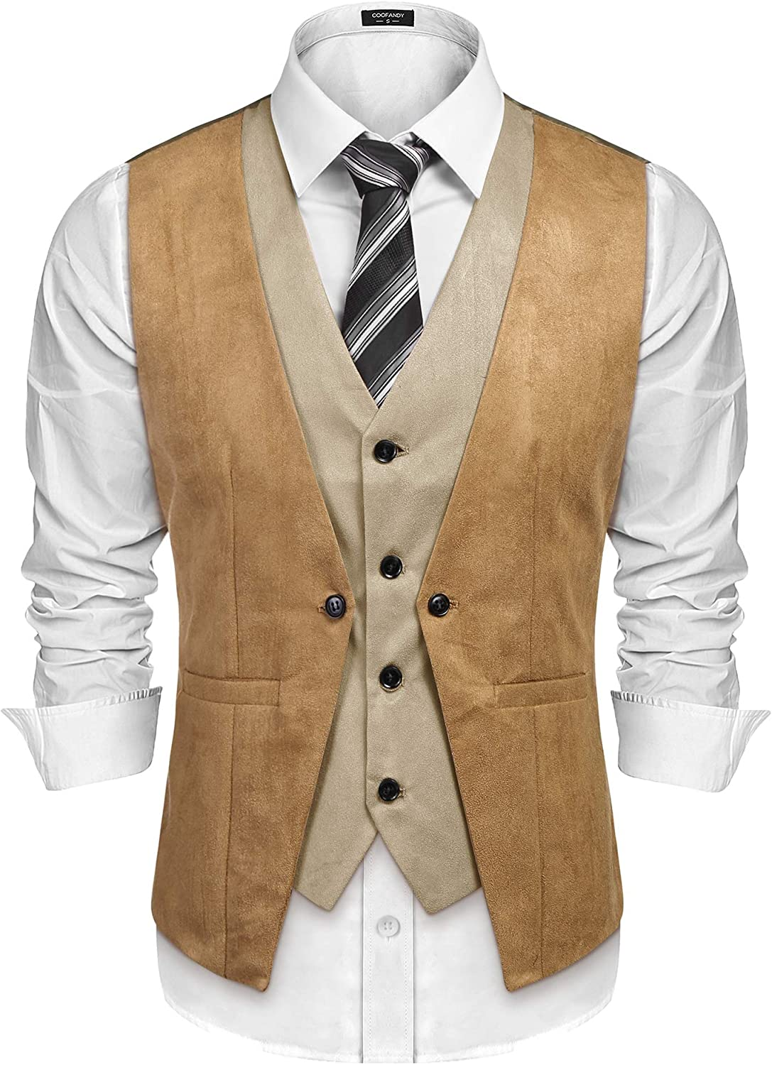 COOFANDY Men's Suede Leather Vest Style Dress Waist Layered Gifts Ranking TOP1