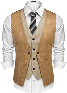 Men's Suede Leather Vest Layered Style Dress Vest Waistcoat