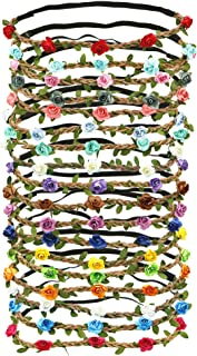 18 PCS Multicolor Flower Headband Women Girl Bohemian Flower Crown Garland headpieces For Festival Wedding