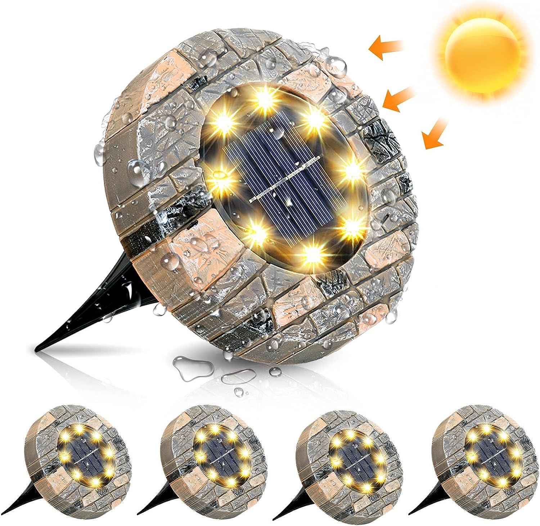 GLIME Lumi/ère Solaire Ext/érieur Jardin Au Sol Lampes Solaires Au Sol Lumi/ères enterr/ées 8 LED /Éclairage pour chemin 3000K Blanc Chaud Etanche IP65 Forme en r/ésine Pour Terrace Terrain 4 pack