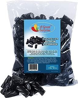 Licorice Candy - 4LBs - Licorice - Black Licorice - Black Candy - Australian Licorice - Wiley Wallaby Licorice - Licorice Candy Bulk - Fat Free, Low Calorie, Low Sugar, Vegan