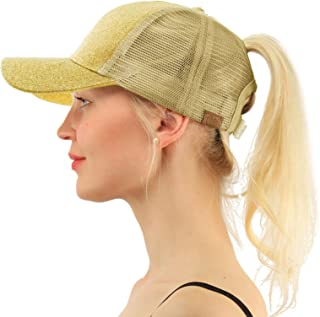 f375e6fca C.C Ponytail Messy Buns Trucker Ponycaps Plain Baseball Visor Cap Dad Hat