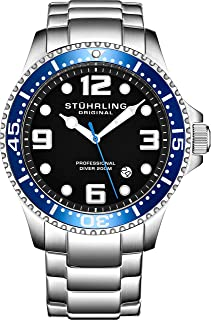 Mens Swiss Quartz Stainless Steel Sport Analog Dive Watch, Water Resistant 200 Meters, Blue/Black Dial, Aqua-Diver