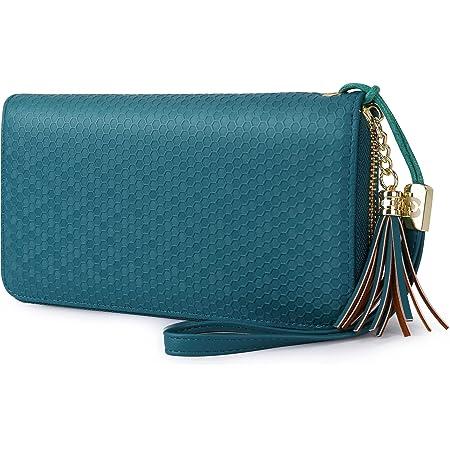 Pomelo Best Damen Geldbeutel Groß Portmonee mit Münzfach, Handyfach und Handschlaufe Waben gesprägte Geldbörse für Frauen (Blau)