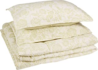 AmazonBasics Comforter Set, Full / Queen, Green Vintage Floral, Microfiber, Ultra-Soft