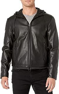 A|X Armani Exchange Men's Faux Leather Zip Up Blouson Jacket