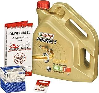 Castrol 10W 40 Öl + Mahle Ölfilter für Honda CBR 900 RR Fireblade, 00 03, SC44 SC50   Ölwechselset inkl. Motoröl, Filter, Dichtring