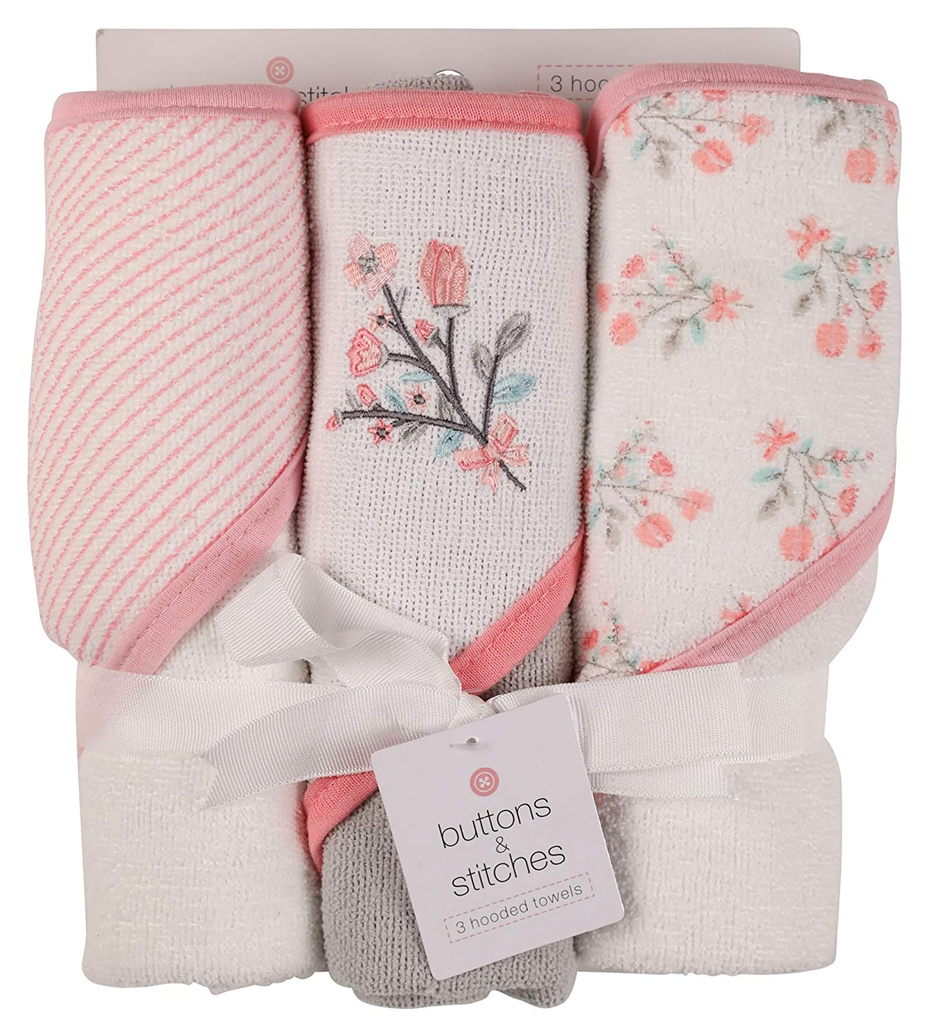 Under blast sales Buttons and Stitches Baby Infant Pack Towel Directly managed store Hooded 3