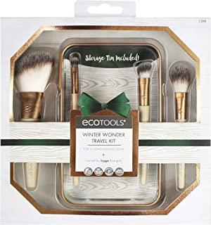 Ecotools Winter Wonder Travel Kit Collection of Cosmetic Mini-Brushes in Travel Tin for Powder, Highlighter, Color