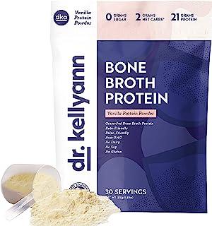 Keto Bone Broth Protein Powder Vanilla - Protein 21g, 2g Net Carbs - Grass Fed Hydrolyzed Collagen - Sugar Free, Gluten Fr...