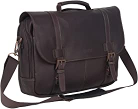 Kenneth Cole Reaction Show Full-Grain Colombian Leather Dual Compartment Flapover 15.6-inch Laptop Business Portfolio, Dar...