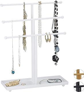 Relaxdays Schmuckständer, 3 Stangen, t-förmig, für Ketten, Ohrringe & Armbänder, mit Ablage, Schmuckhalter Metall, weiß