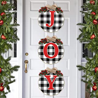 Huray Rayho Buffalo Plaid Joy Wooden Door Wreath Hanger Round Front Wall Sign Winter Farmhouse Holiday Fireplace Festive D...