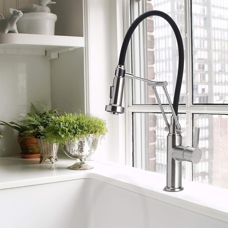 Clear Style Moderne Küchenarmatur mit 360°-Drehgelenk – Elegante Küchenarmatur mit herausziehbarer Brause und dualem Sprühkopf, rostfrei, halb-matt