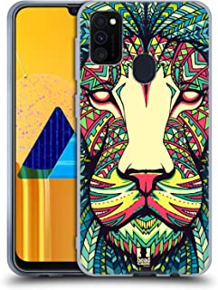 Head Case Designs Lion Aztec Animal Faces Soft Gel Case Compatible for Samsung Galaxy M30s (2019)