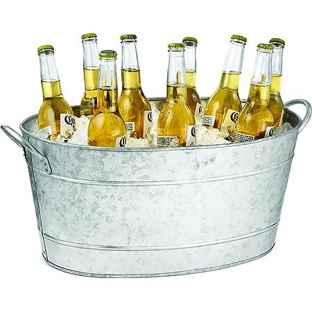 Amazon Com Tablecraft Galvanized Oval Beverage Tub 5 5 Gallons Ice Buckets Industrial Scientific