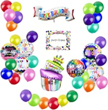 Pack of 39 Happy Birthday Aluminum Foil Balloons Includes Happy Birthday Banner Photo Frame Birthday Cake Round Letter Balloons Assorted Color Latex Balloons for Kids Birthday Decoration Part