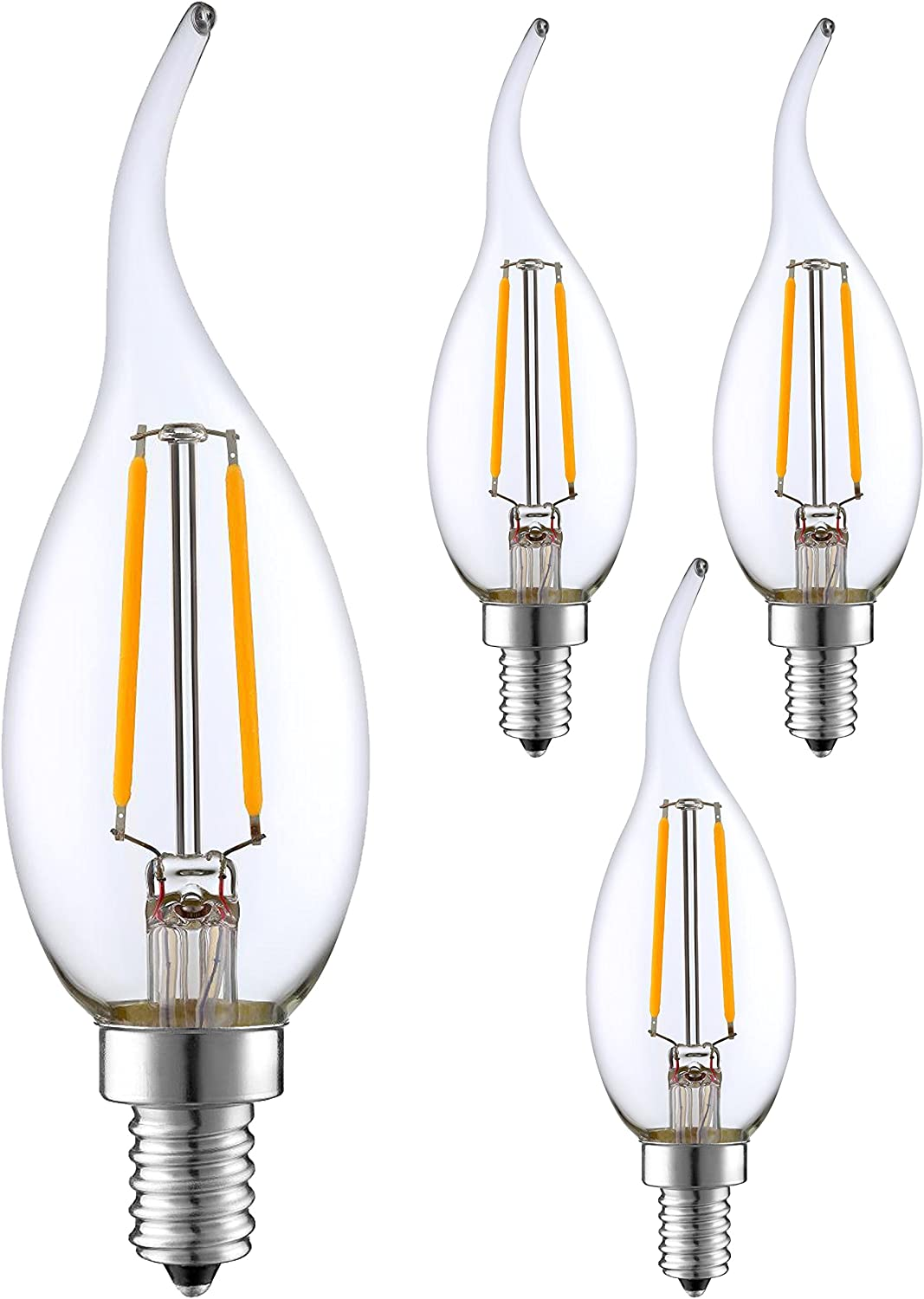 Warm White 2700K Chandelier Decorative Torpedo Tip 25W Incandescent Replacement 4pack Frosted Glass Cover SleekLighting 2 Watt E12 LED Filament Candelabra Dimmable Light Bulb