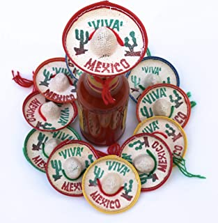 One Dozen Pk Mexico Party Favors - Tiny Sombrero Hats Mini for bottles Mexican decorations Viva hat mexicanos for Fiesta Straw decoraciones-cupcake toppers Cinco de Mayo Supplies