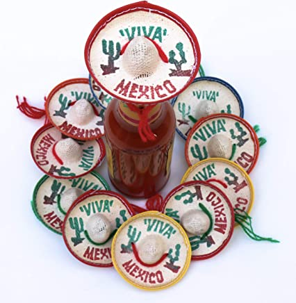 One Dozen Pk Mexico Party Favors - Tiny Sombrero Hats Mini for bottles Mexican decorations Viva
